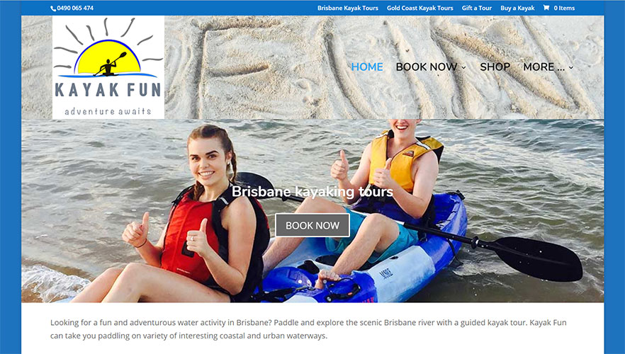 Kayak Fun home page
