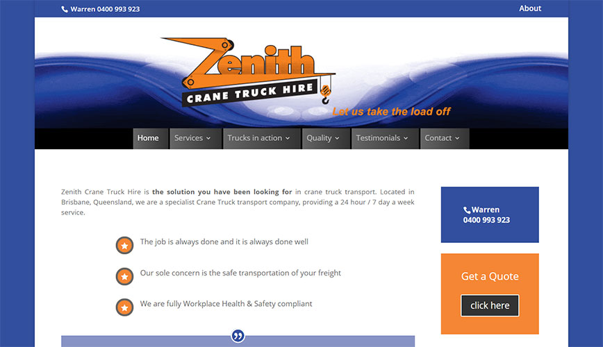 Zenith Crane Truck Hire - Home page