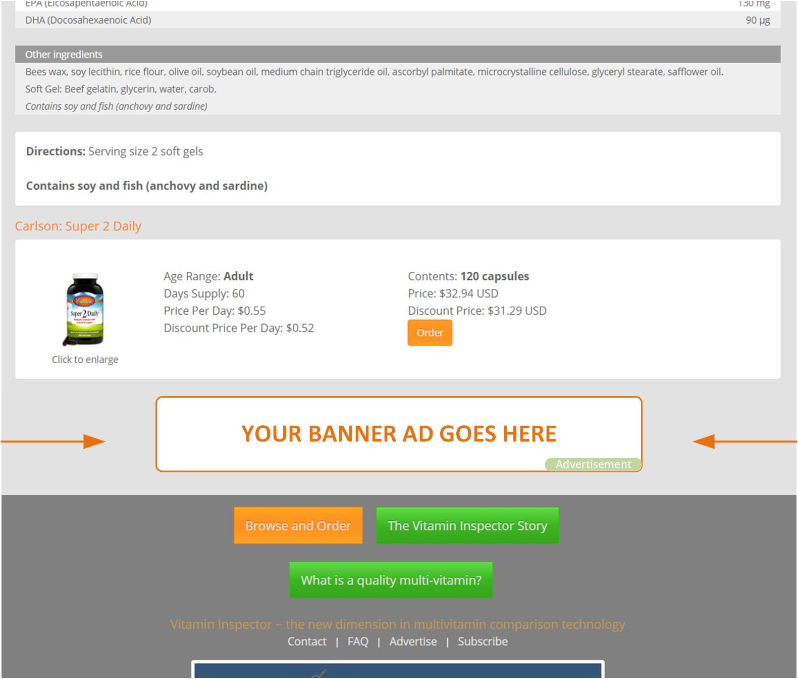 positioning of bottom of page banner ads